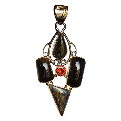 Ravishing Impressions Pendentif Pietersite Cornaline en argent sterling 925 plaqué rhodium pour femme