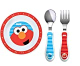 NUK Sesame Street Bowl Plate, Fork and Spoon Set in Red and Blue (Bundle of 3)