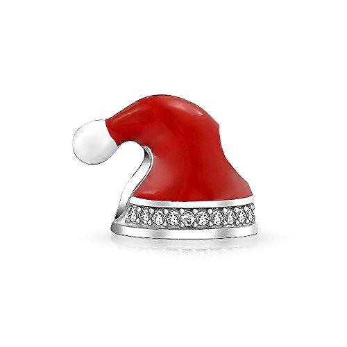 Bling Jewelry Roter Weihnachtsmann Hut Weihnachten Kristall Charme Perle Für Frauen Für Teen 925 Sterling Silber Passt Europäische Armband