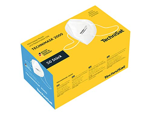 50 Stück TechniSat TECHNIMASK 2000 CPA-Maske (Mund- und Nasen-Bedeckung, 5-lagige Einweg-Maske aus hochwertigem Vlies / Gesichtsmasken Made in Germany)