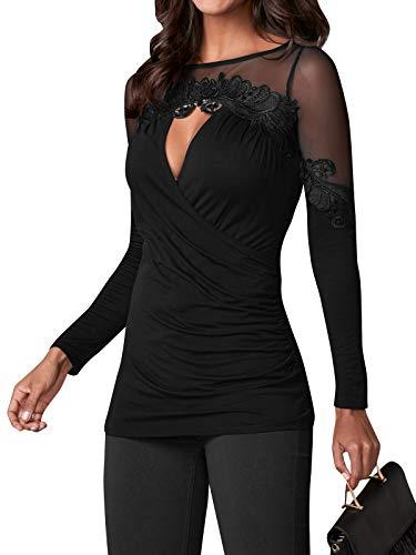 YOINS Sexy Oberteil Damen Elegant Langarmshirt Bluse Damen Chiffon Herbst Choker T-Shirt V-Ausschnitt Tops B-schwarz L