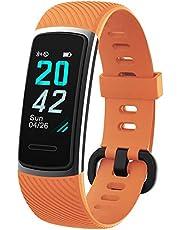 KUNGIX Fitnesstracker, stappenteller, horloge, IP68 waterdicht, smartwatch met hartslagmeter, voor dames, heren, kinderen, compatibel met iOS en Android