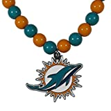 NFL Siskiyou Sports Womens Miami Dolphins Fan Bead Necklace 24 inch Team Color