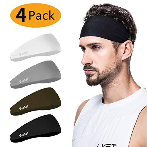 poshei Mens Headband (4 Pack), Mens Sweatband & Sports Headband for Running, Crossfit, Cycling, Yoga, Basketball - Stretchy Moisture Wicking Unisex Hairband
