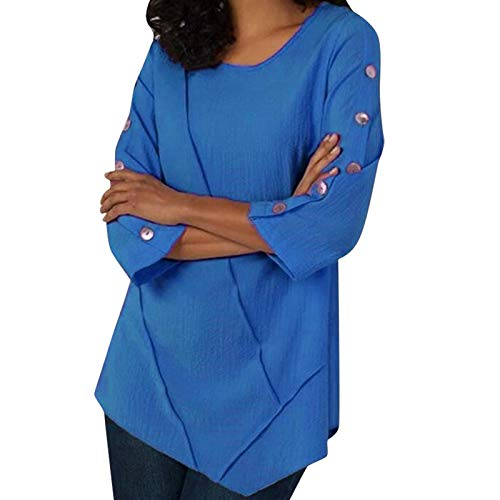 XUJY Camiseta de manga larga para mujer, sudadera de manga larga, suelta, para otoño, con estampado gráfico, elegante cuello en V, blusa básica para niñas, informal, túnica de manga larga., A2., XXL
