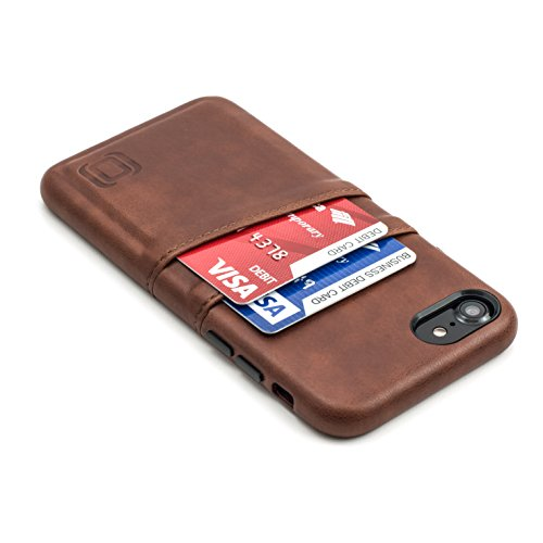 Dockem Exec Funda Cartera para iPhone 8 y iPhone 7 - Funda Tarjetero Slim de Piel Sintética Vintage con 2 Ranuras para Tarjetas/DNI: Cubierta Simple, Profesional, Ejecutiva, Fácil de Instalar [Brown]