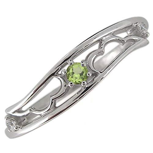 [プレジュール]指輪 レディース ペリドット 羽根 シルバーアクセサリー フェザー リングサイズ15号
