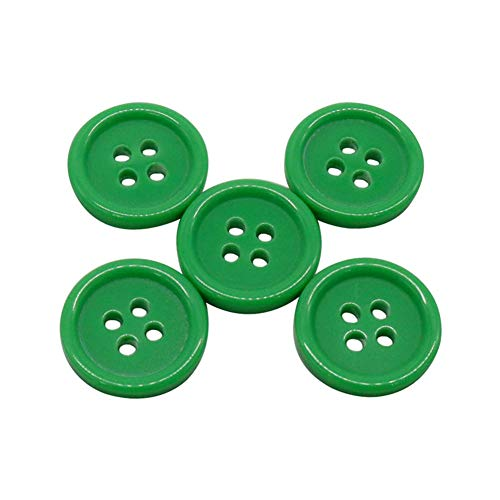 AKOAK 50 Pcs/Set 20mm DIY Button Colorful Candy Color Four-Eye Children's Clothing Buckle Work Clothes Button (Green)