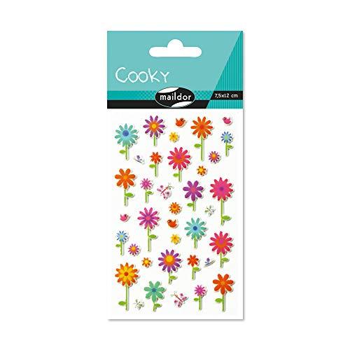 Maildor 560356C Packung mit Stickers Cooky 3D (1 Bogen, 7,5 x 12 cm, ideal zum Dekorieren, Sammeln oder Verschenken, Blumen) 1 Pack