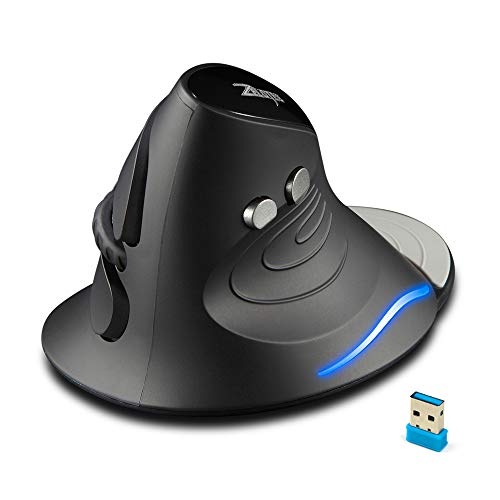 Echtpower Vertikale Maus, Ergonomische Funk Maus mit Handballenauflage, 2.4G Kabellose Maus gegen Mausarm Tennisarm, optische Wireless Vertical Mouse mit 2400/1600/1000DPI 6 Tasten für Rechtshänder