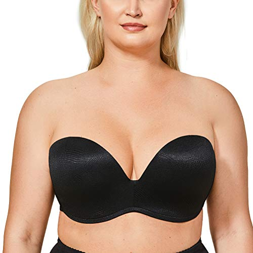 DELIMIRA Women's Slightly Lined Lift Support Invisible Seamless Plunge Strapless Bra Jacquard Black 42C