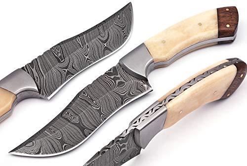 randy Handmade Damascus Steel Hunting Knife, Real Bone Handle Fixed Blade Skinning Knives With Sheath (10701)