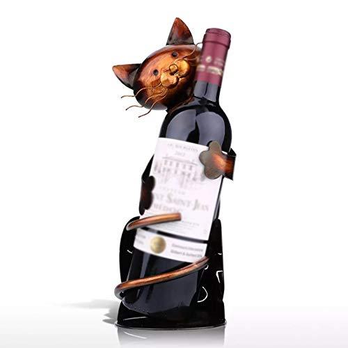 ASDFY Estante de Vino con Forma de Gato, Escultura práctica de Metal, Estante de Vino, Estante de Hierro Forjado, Soporte para Vino, decoración del hogar, Manualidades Interiores