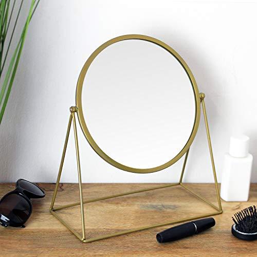 Wohaga Tischspiegel 26x13xH30cm, eine runde Spiegelfläche schwenkbar, Metallgestell Gold Retro-Look, Kosmetikspiegel Schminkspiegel