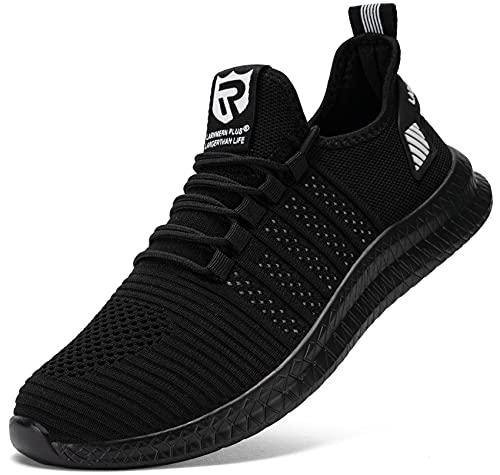 LARNMERN Laufschuhe Herren Sportschuhe Straßenlaufschuhe Sneaker Turnschuhe Walkingschuhe Traillauf Fitness Schuhe(Schwarz Weiss 48)