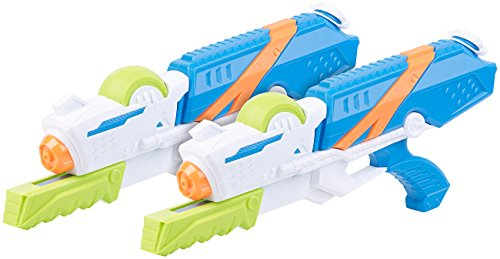 Speeron Wasserspritzpistolen: 2er-Set XL-Kinder-Wasserpistolen mit extra-großem Wassertank, 850 ml (Water Gun)