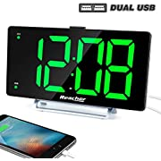 "K-star Large Alarm Clock 9"" LED Digital Display Dual Alarm with USB Charger Port 0-100 Dimmer for Seniors Simple Bedside Big Number Green Alarm Clocks for Bedrooms"