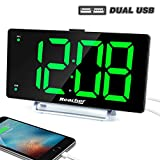 Large Alarm Clock 9' LED Digital Display Dual Alarm with USB Charger Port 0-100 Dimmer for Seniors Simple Bedside Big Number Green Alarm Clocks for Bedrooms