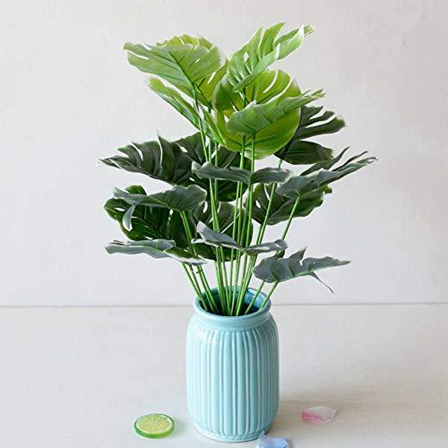 HYLZW Kunstmatige Bloemplant 18 Tak Kunstplanten Potplanten Kunststof Groen Blad Schildpad Bladeren Bruiloft Wandhuis Tuintafel Decoratie