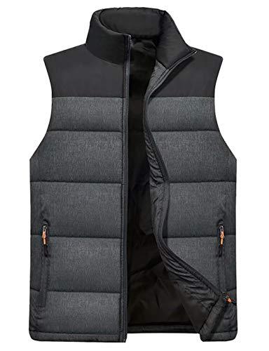 Vcansion Men's Outdoor Casual Stand Collar Padded Vest Lightweight Down Cotton Jacket Coat Vest Black+Dark Grey S