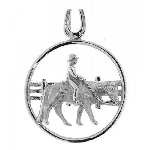 Derby Anhänger Reiter auf Pferd Western Pleasure vor Zaun massiv echt Silber 23746