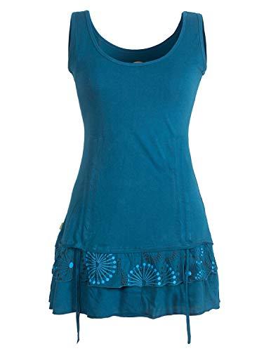 Vishes - Alternative Bekleidung - Damen Lagen-Look Jersey-Tunika Shirt aus Baumwolle zum Raffen türkis 40