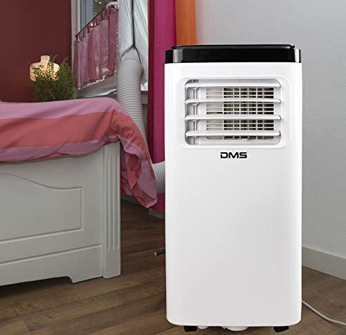 DMS® – Condizionatore portatile 4 in 1, deumidificatore, ventilatore – 8000 BTU/h (2.000 Watt) – Clima con materiale di montaggio, telecomando e timer 24 ore modalità notte EEK: A bianco MKH-8000