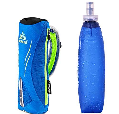 AONIJIE Männer/Frauen Sport Quick Grip Chill Handheld Water Bottle Trinkflasche Trinkrucksack mit 500ML Trinkflasche (Blau)