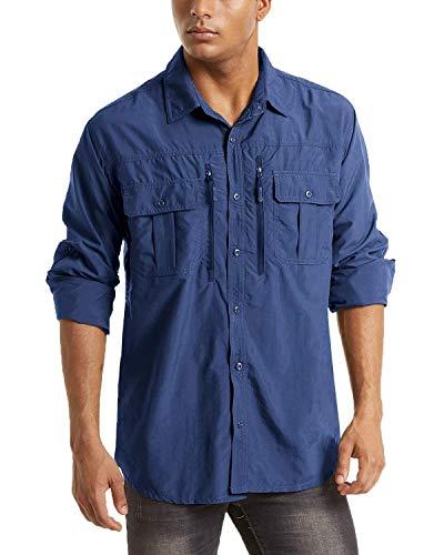 MAGCOMSEN Funktionshemd Herren Outdoor Arbeitshemd Langarm Taktisch Hemd UPF 50+ Shirts Männer Freizeithemd Atmungsaktiv Work Shirts Safari Tropenhemd mit Zip Taschen Königsblau L