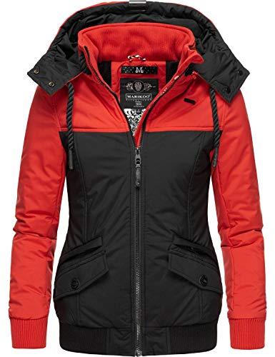 Marikoo Damen Winterjacke Outdoor Funktionsjacke mit Abnehmbarer Kapuze Sumikoo Rot Gr. M