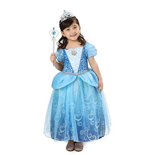 Sincere Party Deluxe Aschenputtel Prinzessin Kostüm für Mädchen,Cinderella Kleid Blau mit Diademe & Zauberstab,für Karneval Party Halloween Weihnachten Größe 7-8 Jahre