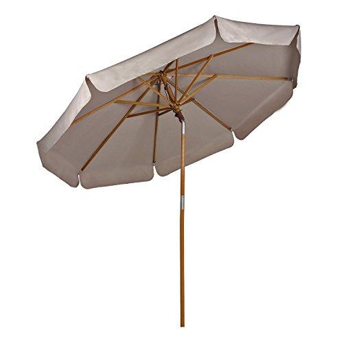 Sekey Parasol en Bois inclinable pour Patio Jardin Balcon Piscine Plage Ø 270 cm Rond Beige/Taupe Sunscreen UV50+