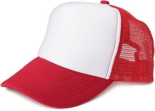 styleBREAKER Gorra de Malla de 5 Paneles, Gorra de Camionero, Gorra de béisbol, Ajustable, Unisex 04023007, Color:Blanco-Rojo
