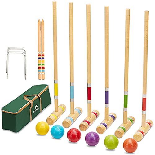 ApudArmis Six Player Croquet Set with Premiun Pine Wooden Mallets 28In,Colored Ball,Wickets,Stakes - Lawn Backyard Game Set for Adults/Kids/Family (Large Carry Bag Including)