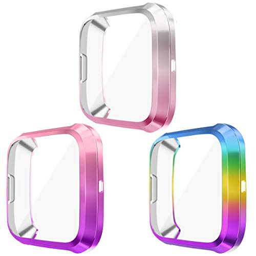 EZCO 3-Pack Screen Protector Case Compatible with Fitbit Versa 2 (Not for Versa), Soft TUP Gradient Color Case All Around Protective Cover Bumper Shell for Versa 2 Watch