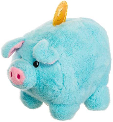 Brandsseller Plüsch Sparschwein Spardose Kuschelschwein Stofftier (Hellblau 19cm)