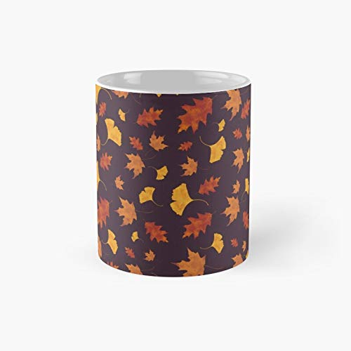 Zz Autumn Leaves-purple- Classic Mug - Novelty Ceramic Cups 11oz, Unique Birthday And Holiday Gifts For Mom Mother Father-teiltspe