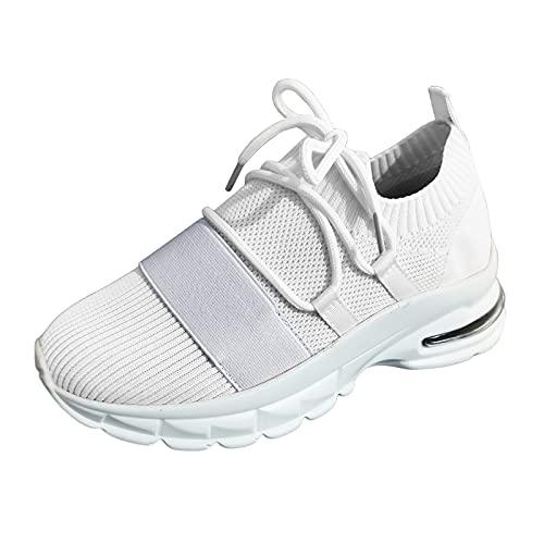 Zapatillas Deporte Mujer, Deportivas Sneaker Running Senderismo Transpirable Verano 2021 Cordones Baratas Blancas Vestir Platform Cuña Plantilla Regular Gimnasia Gimnasio (H02_White,EU36)