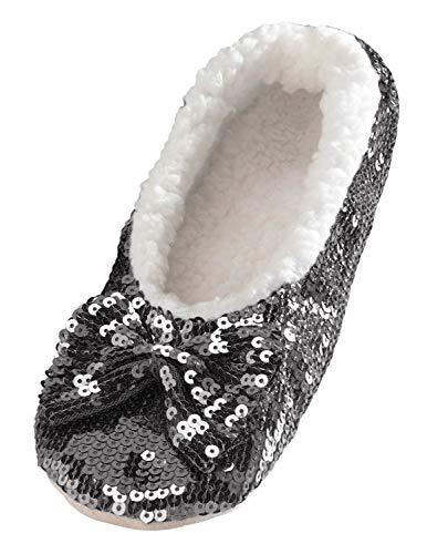 Snoozies Ballerina Bling Metallic Shine Women Slippers | Sequin House Slippers for Women | Slipper Socks with Grippers for Women | Cute Slippers for Women | Black | Large