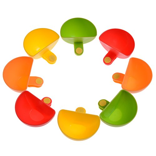 Set of 8 Dip Clips Colorful Dip Holders Plate Grab Clip-on Assorted Tomato...