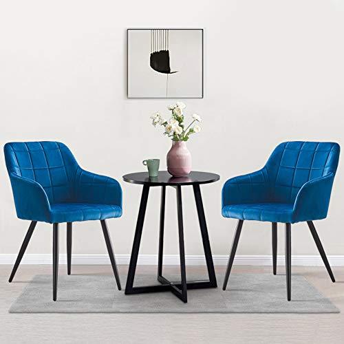 OFCASA Juego de 2 sillas de comedor de cocina tapizadas de terciopelo azul con reposabrazos y sillón para el hogar, restaurante, recepción