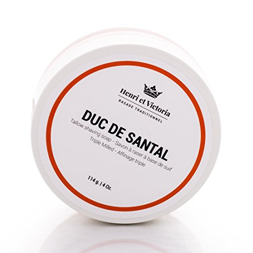 Triple Milled Tallow Shaving Soap for Men | Duc de Santal Wet Shave Soap Fragrance | Made by Skilled Artisans | Ultra Glide, Cushioning, Easy Lather, Chic and Subtle Scent | 4 oz