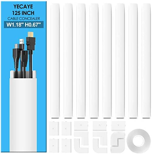 Yecaye 125 Large Cable Concealer Paintable Cord Cover Wall Cable Management System PVC Wire product image