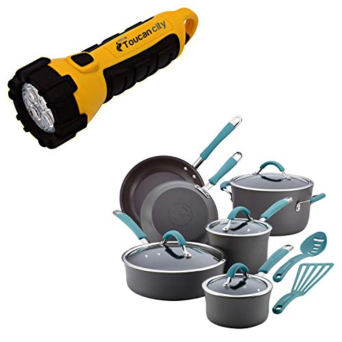 Toucan City LED Flashlight and Rachael Ray Cucina 12-Piece Hard-Anodized Aluminum Nonstick Cookware Set in Agave Blue and Gray 87641