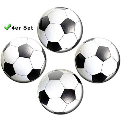 Kühlschrankmagnete Fußball 4er Geschenk Set Magnete für Magnettafel Kinder stark groß Ø 50 mm Schwarz Weiß