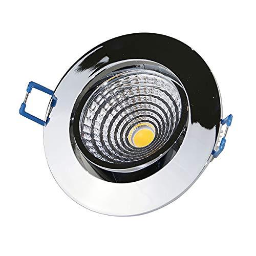 VBLED® Extra flache LED Einbauleuchte 7W - 230V AC - 500 Lumen - dimmbar (rund chrom glänzend)