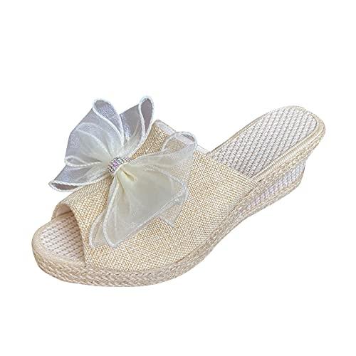 Zapatillas para mujer Cuñas Cómodo Cuerda de cáñamo Tejido Bowknot Peep-toe ZapatosSandalias de deslizamiento de zapatos de punto de color liso