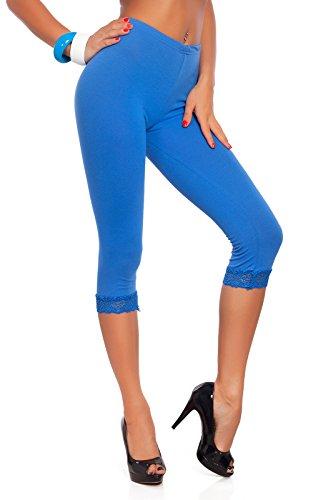 FUTURO FASHION FUTURO FASHION® - Leggings mit 3/4-Länge - Baumwolle - mit Spitzensaum - alle Farben & Größen - Königsblau - 36
