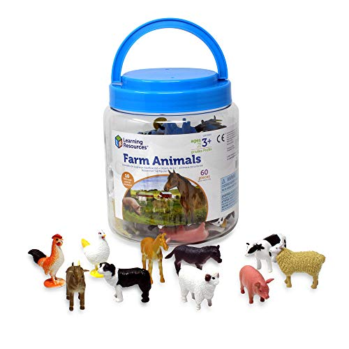 Learning Resources- Figurine a Forma di Animali della Fattoria, Colore, LER0810