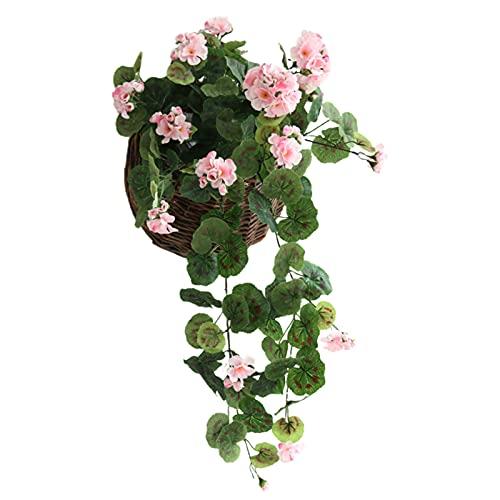 CJFael Flores artificiales artificiales para colgar con diseño de flores artificiales de seda sintética, delicadas, flores falsas para ventana, jardín, boda, fiesta, decoración de color rosa claro